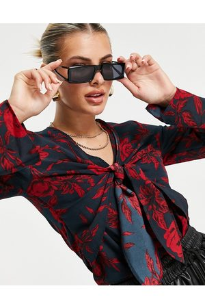 In The Style Tie front top in floral
