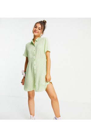 Pieces Mujer Camiseros - Exclusive mini shirt dress in mint ditsy floral