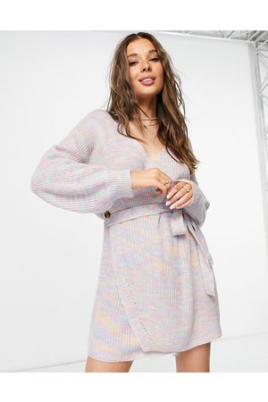 Never Fully Dressed Wrap mini dress in rainbow knit