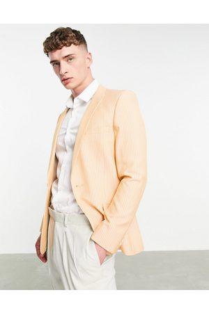 ASOS Super skinny suit jacket cotton pinstripe in orange
