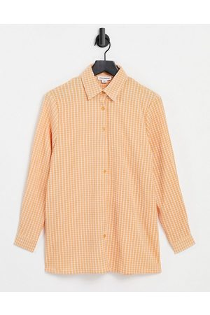 Urban Threads Mujer Camisas - Oversized checked shirt in coral