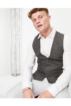 ASOS Hombre Chalecos - Skinny suit waistcoat in grey nep texture