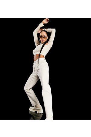 AsYou Mujer De cintura alta - Slim mom jeans with seam detail in ecru