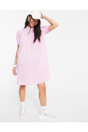 ONLY Smock mini dress with puff sleeve and shirred neck in pink print
