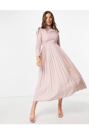 Little Mistress High neck frill shoulder pleated midi dress in dusty mink