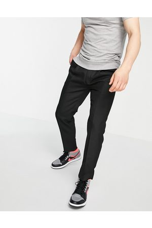 Topman Hombre Chinos - Pronounced twill taper trousers in black
