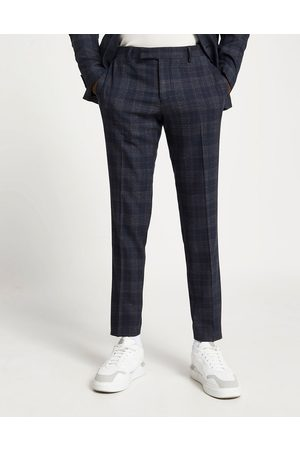 River Island Hombre Slim y skinny - Skinny suit trousers in navy check