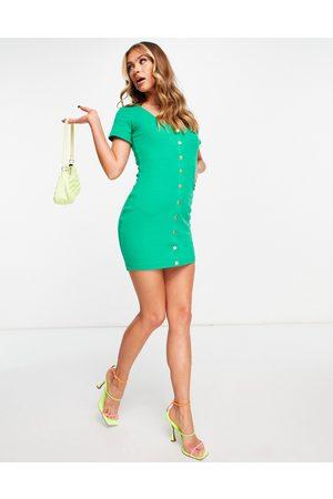 Public Desire Mujer Cortos - Button mini dress in green