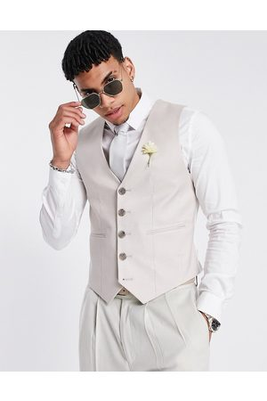 ASOS Hombre Chalecos - Wedding super skinny suit waistcoat in stone cotton linen