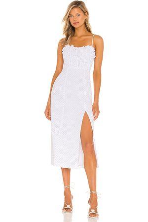 MAJORELLE Vestido midi harper en color talla L en - White. Talla L (también en XXS, XS, S, M, XL).