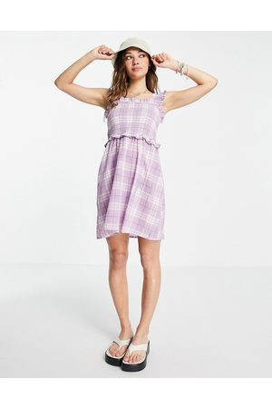 VIOLET ROMANCE Mujer Casuales - Shirred mini dress in lilac check