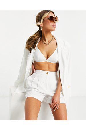 ASOS Linen mom shorts in white