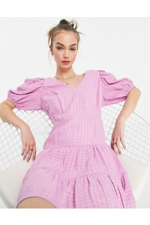 French Connection Birch gingham puff sleeve dress in lavender