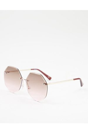 ASOS DESIGN Oversized 70s rimless bevel sunglasses in pink fade lens