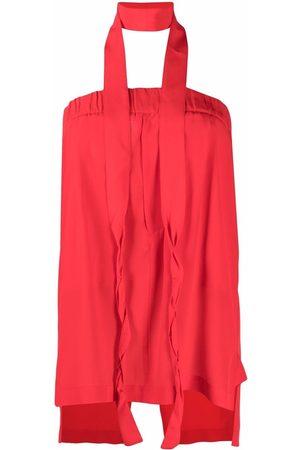 JEJIA Falda recta de seda con lazo en la cintura