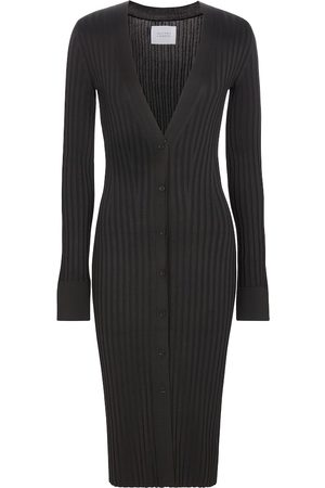 GALVAN Ribbed button-down midi dress