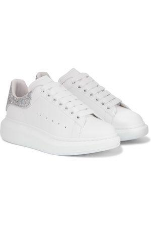 Alexander McQueen Glitter-trimmed leather sneakers
