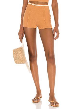 Camila Coelho Shorts de ganchillo claudine en color bronce talla L en - Tan. Talla L (también en XS, S, M).