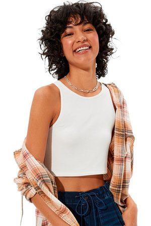 AMERICAN EAGLE Camiseta Sin Mangas High-neck Crop S White