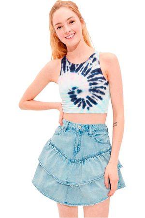 AMERICAN EAGLE Camiseta Sin Mangas Tie-dye High-neck Crop L Blue