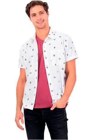 AMERICAN EAGLE Camisa Manga Corta Con Botones Oxford L White