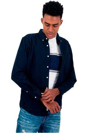 AMERICAN EAGLE Camisa Manga Larga Slim Fit Con Botones Oxford L Navy