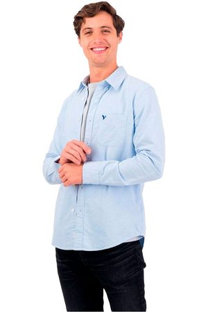 AMERICAN EAGLE Hombre Manga larga - Camisa Manga Larga Slim Fit Con Botones Oxford L Blue