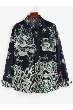 Zaful Oriental Dragon Print Pocket Patch Shirt