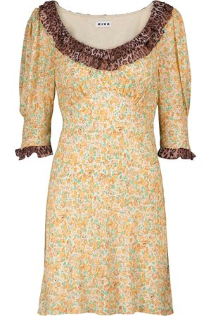 RIXO London Marcele floral and leopard-print minidress