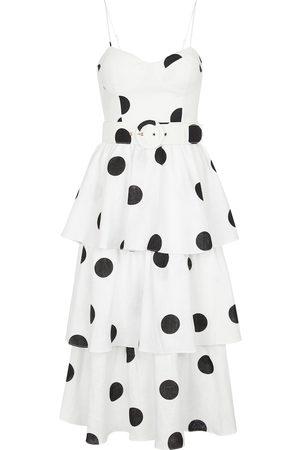 Rebecca Vallance Bonita polka-dot linen midi dress