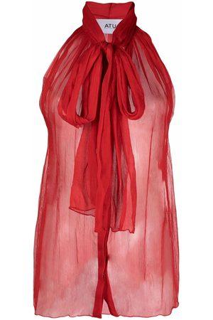 Atu Body Couture Mujer Blusas - Blusa de seda semitraslúcida