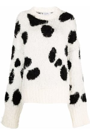 The Attico Suéter tejido con estampado de vaca