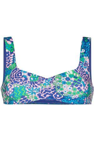 Frankies Bikinis Top de bikini con estampado abstracto
