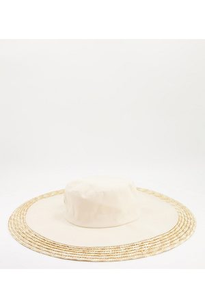 South Beach Canvas and straw hat in natural