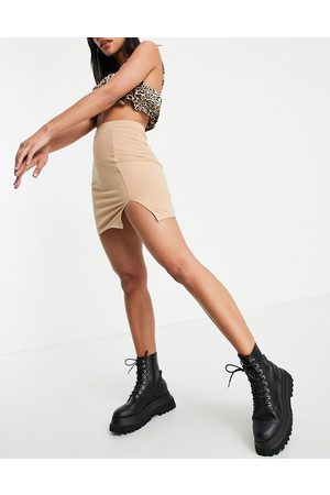 Love & Other Things Jersey mini skirt with split in camel