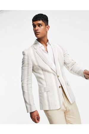 ASOS Skinny suit jacket with cotton linen stripe