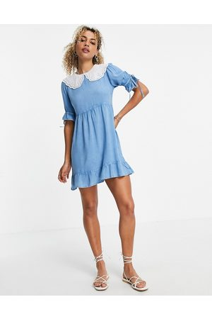 VIOLET ROMANCE Chambray mini dress with broderie collars