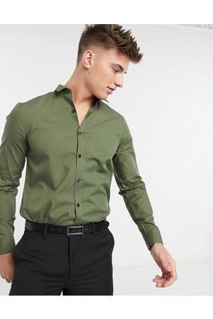 New Look Long sleeve poplin shirt in khaki