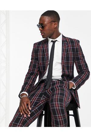 ASOS Super skinny suit jacket with tartan check in black