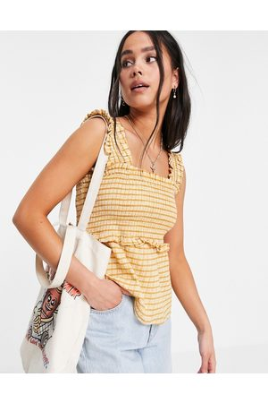 VIOLET ROMANCE Mujer Tops - Shirred sleeveless top in grid print