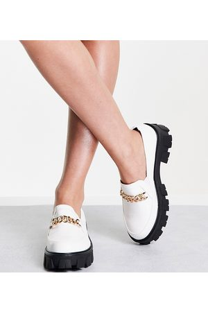 Raid Alessio chunky flat shoes with gold chain detail in white croc