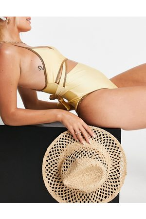 River Island Wrapover cutout swimsuit in yellow