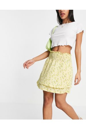 ONLY Shirred skirt with frill hem in yellow ditsy floral