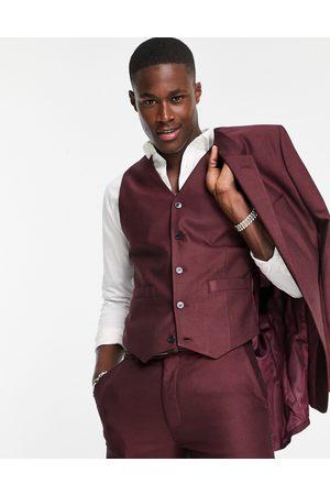 ASOS DESIGN Hombre Chalecos - Smart oxford skinny waistcoat in burgundy
