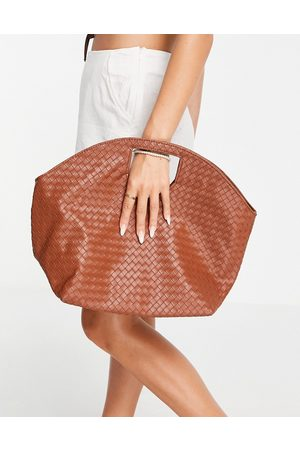 SVNX Tote bag with weave detail in brown