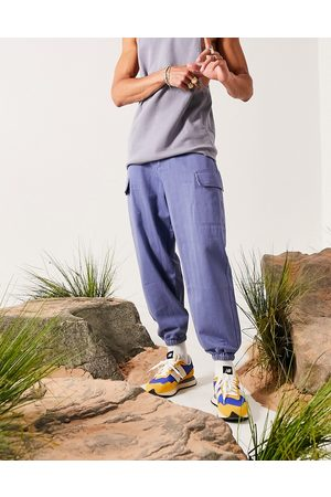ASOS Oversized tapered trousers in blue
