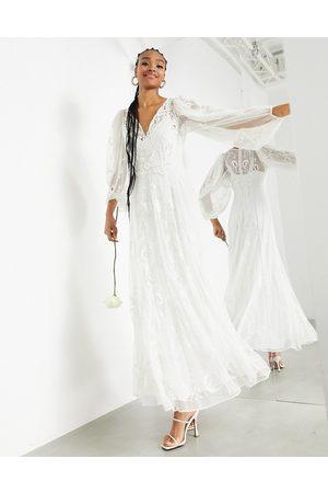ASOS Natalia embroidered dobby maxi wedding dress