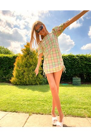 The Ragged Priest Check cold shoulder mini dress with side ruching