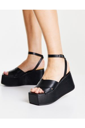 Public Desire Elevate plaftorm sandals in black