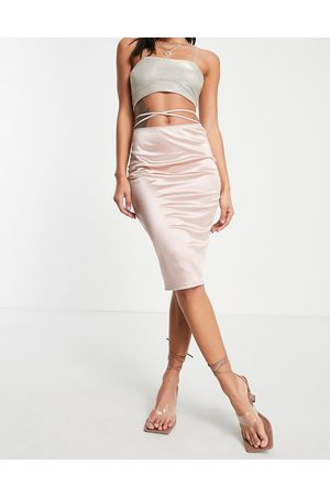 Flounce London Satin midi skirt with strap details in mink